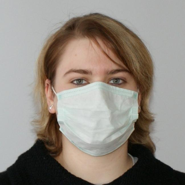 OP-Maske Mundschutz, 3-lagig, grün, mit Gummi (50 Stück)