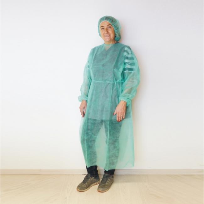 Patienten- / Schutzmantel grün, zum Binden 130 cm lang (10 Stück)
